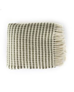 National Trust Waffle Honeycomb Stripe Throw, Cream and Green