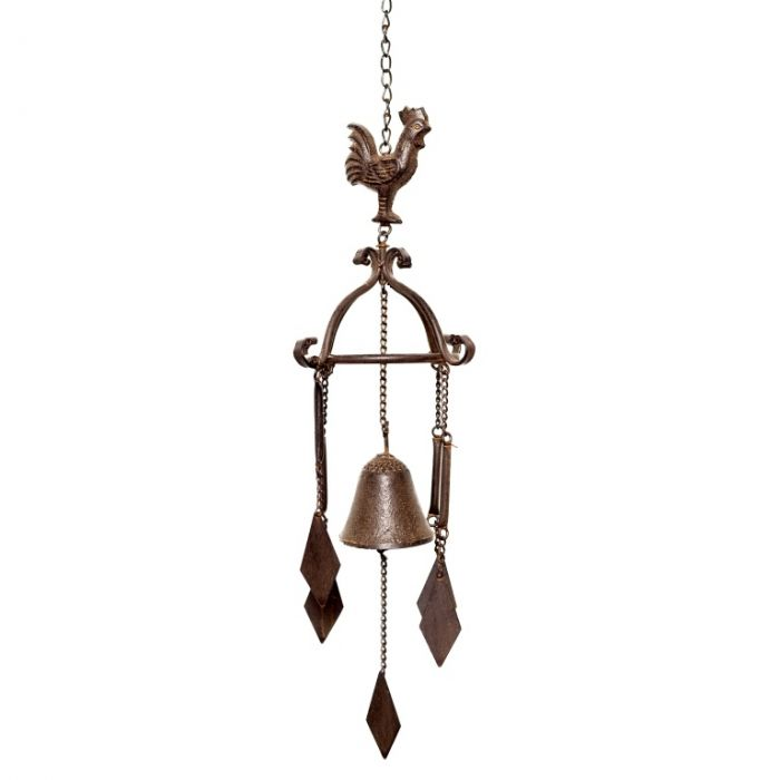 There's a dark brown aged finish on this beautiful cockerel windchime, with a bell and four droplets to create sounds