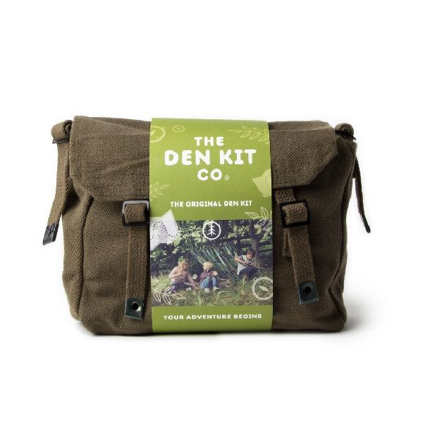 Den Kit in an olive green bag with a lighter green card band around it and a photo of a den