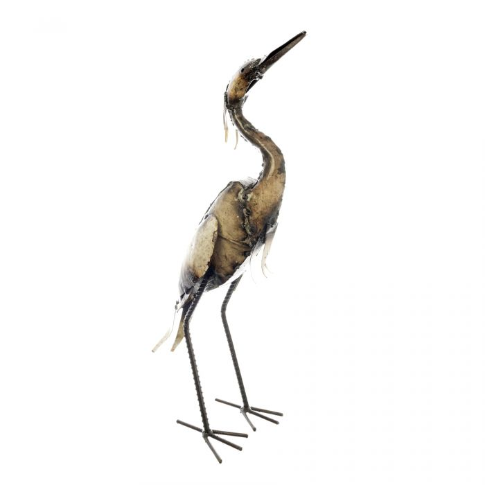 Standing white egret metal sculpture made from recycled fridges with his wings at his side and beak pointing upwards