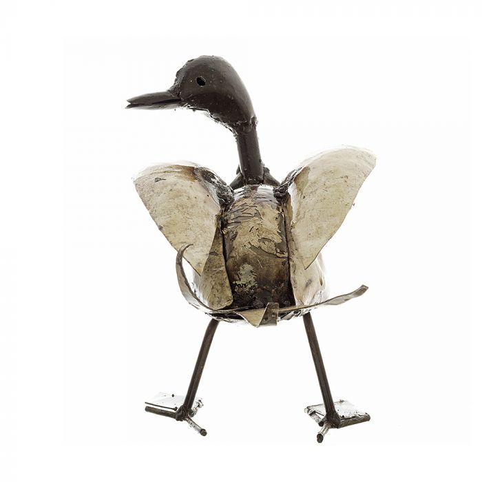 Looking from the tail to the head of a recycled metal duck sculpture