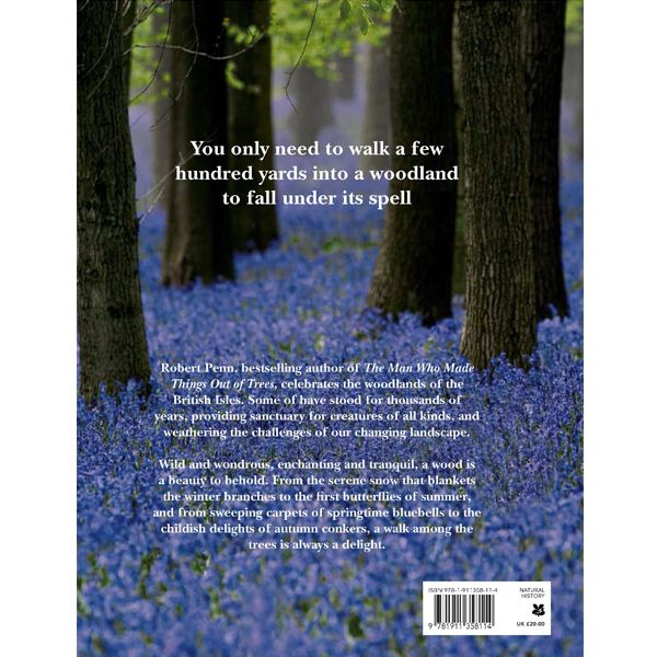 Back cover of Woods: A Celebration with a photograph of a carpet of bluebells in a wood and information about the book