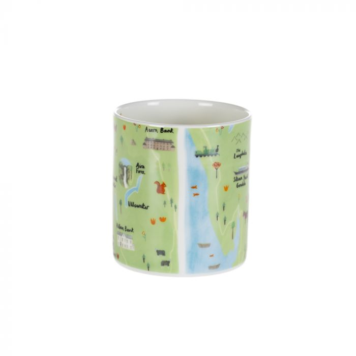 Map design Lake District mug with images of National Trust properties