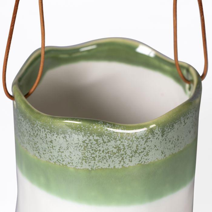 Hanging Wave Pot, Green & White