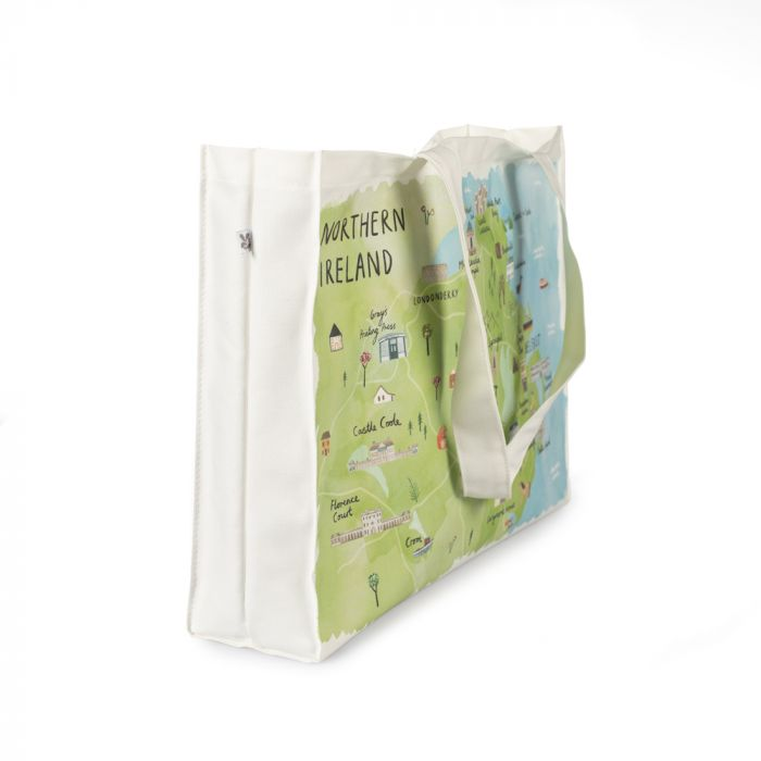 A side view of the Northern Ireland canvas bag with a map of the National Trust properties and local towns
