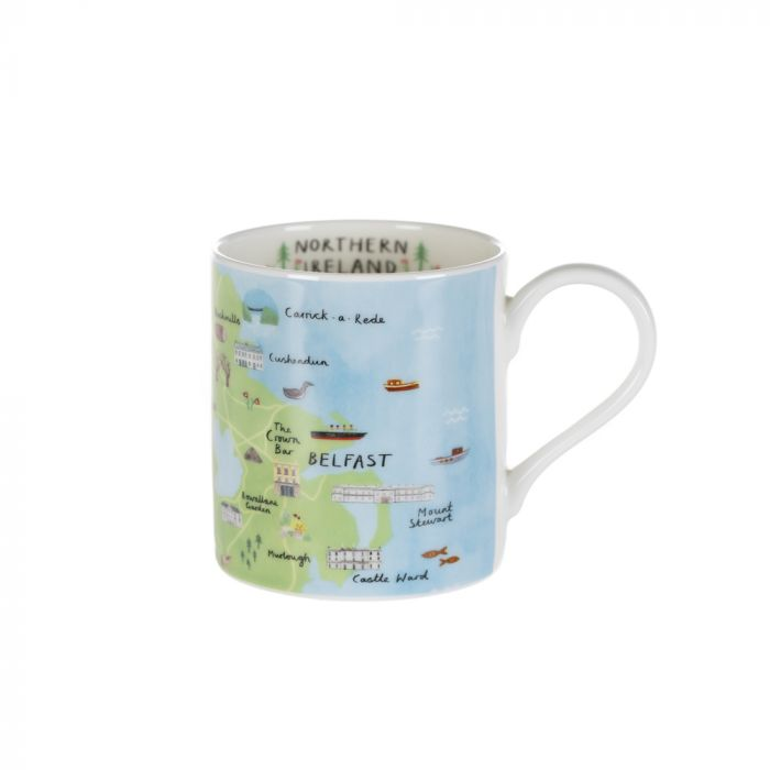 A mug of Northern Ireland with the handle on the right