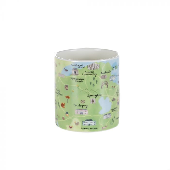 A mug with a map of Northern Ireland and illustrations of the National Trust properties in the area