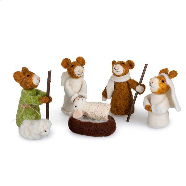 Wool Mouse Nativity Set