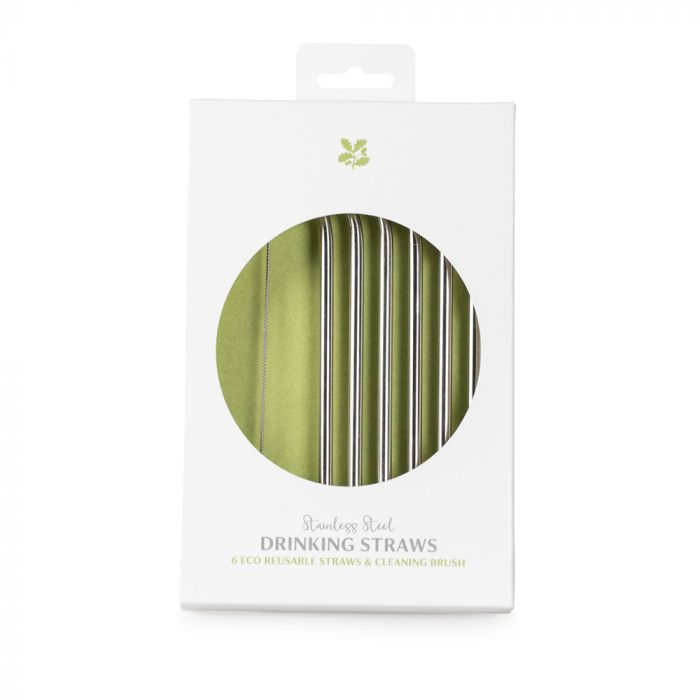 National Trust Eco Reusable Steel Drinking Straws, Set of 6 with Cleaning Brush