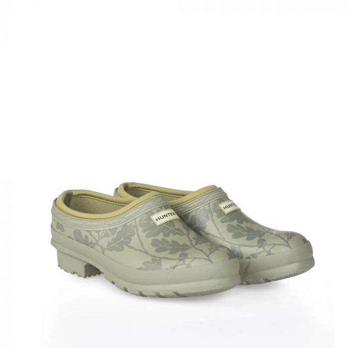 Sea Green Hunter clog wellington shoes with a darker oak leaf print