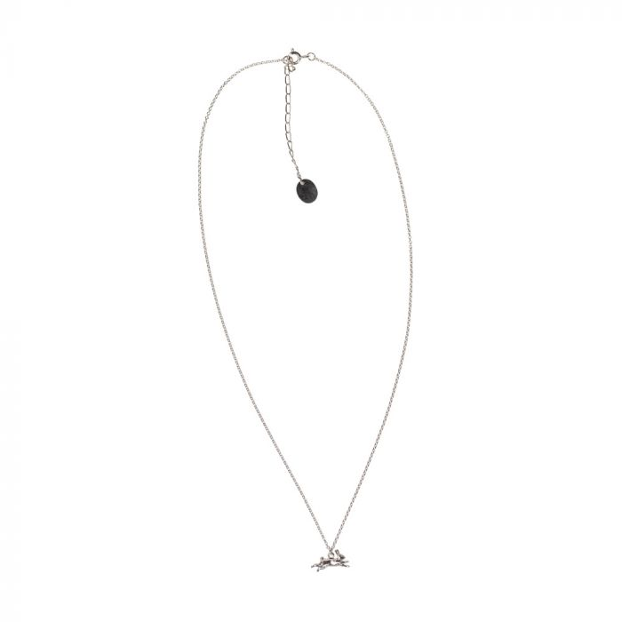 Alex Monroe Leaping Rabbit Necklace, Sterling Silver