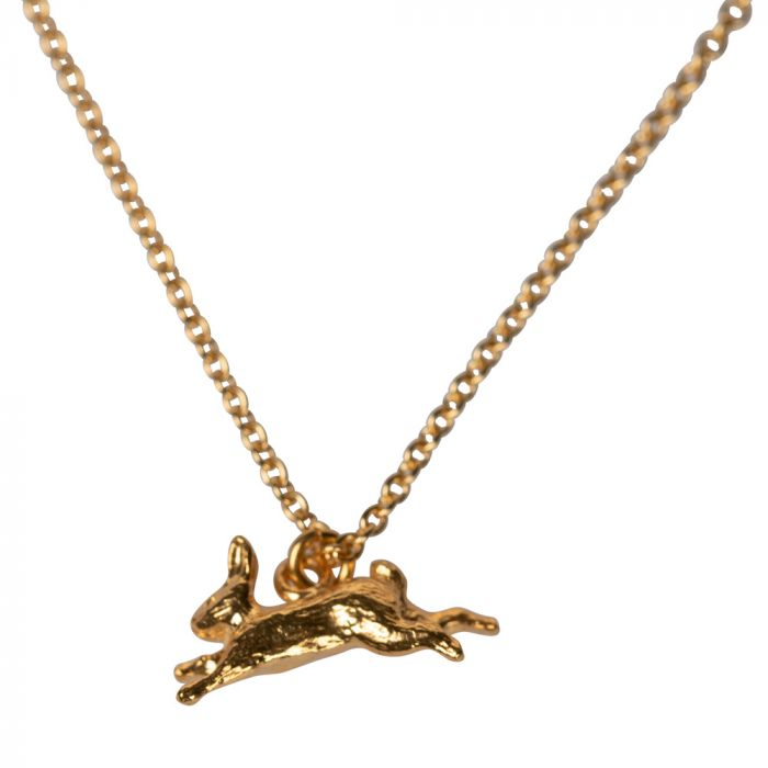 Alex Monroe Leaping Rabbit Necklace, Sterling Silver with 22ct Gold Plate