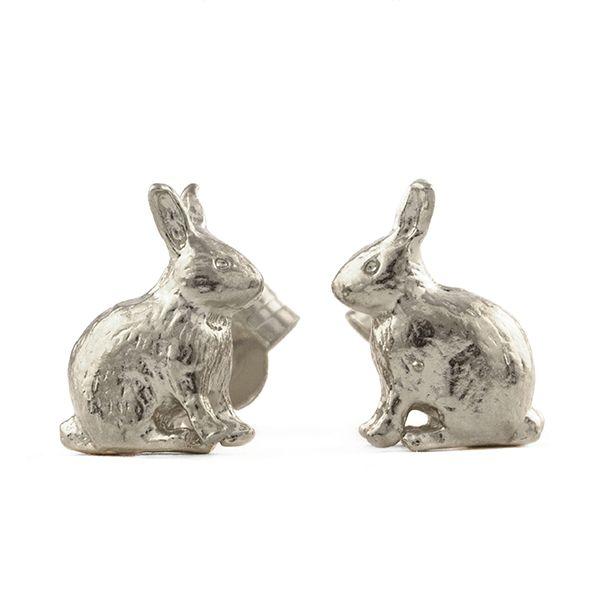 Alex Monroe Sitting Bunny Stud Earrings, Sterling Silver