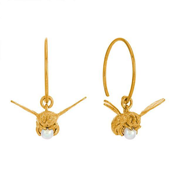 Alex Monroe Flying Bee Hoop Earrings, Sterling Silver 22ct Gold Plate with Freshwater Pearl