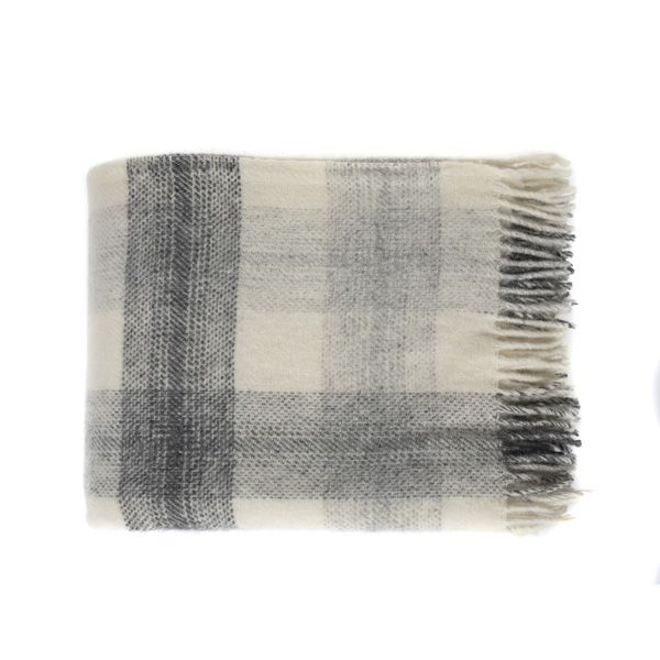 National Trust Meadow Check Charcoal Wool Throw