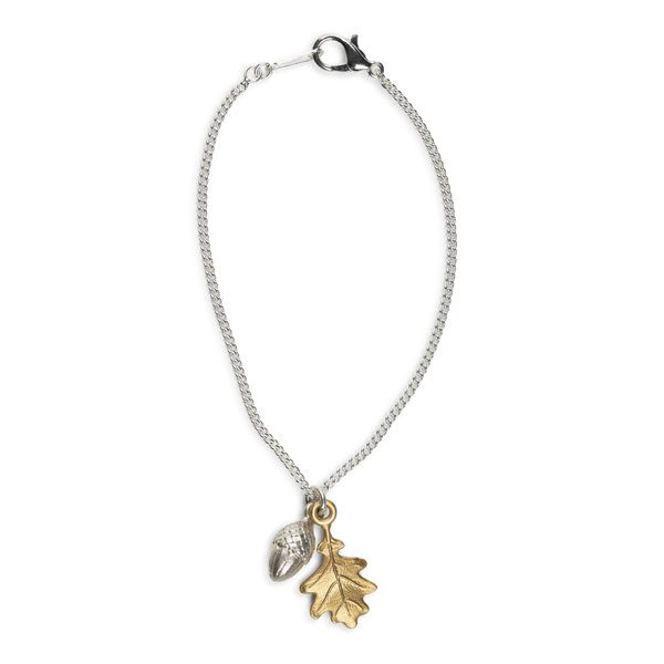 Love Scarlet, Silver Acorn and Brass Leaf Bracelet