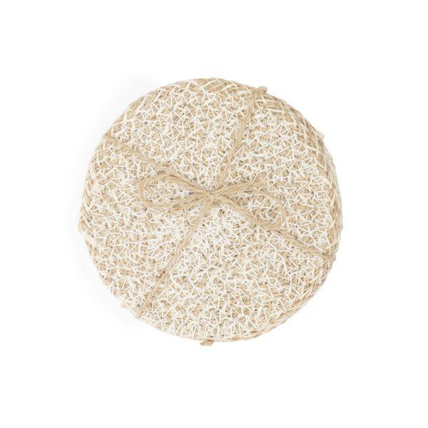 Jute Coasters, Pearl White/Natural, Set of 4