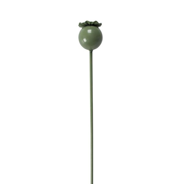 Poppy Seed Head Plant Stake, Sage Green