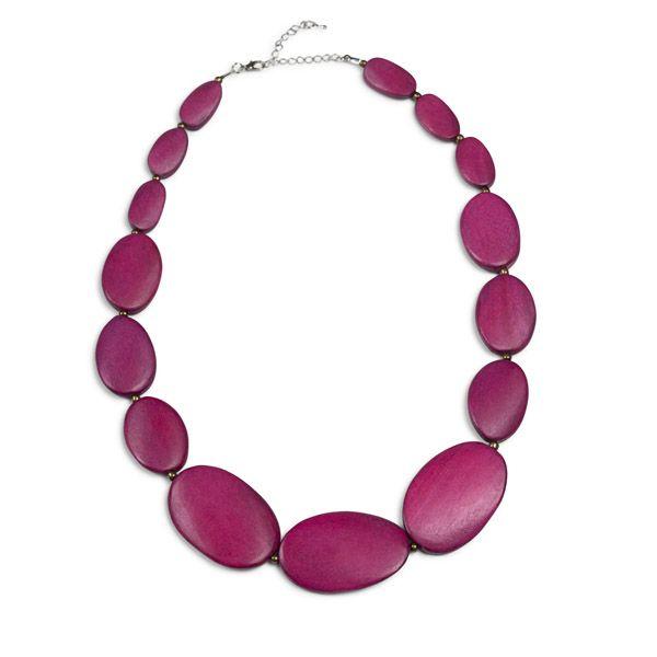 Pebble Row Necklace, Magenta