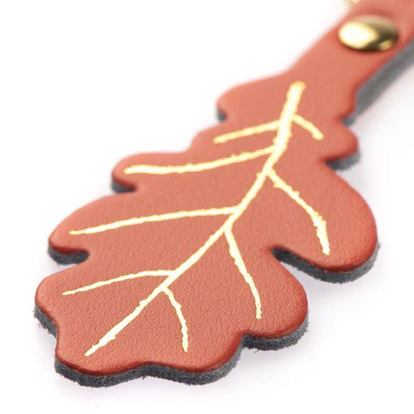 National Trust Celebration Coral Oak Leaf Keyring