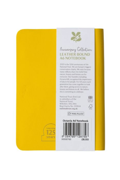 National Trust Celebration Leather A6 Notebook, Yellow