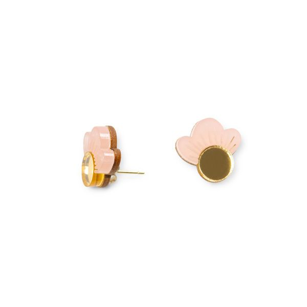 Wolf and Moon Earrings, Pink Blush Wildflower