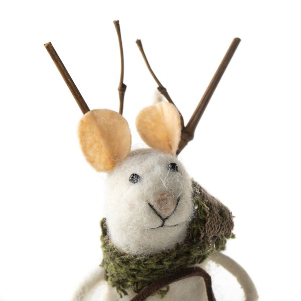 Wool Mice with Wooden Sleigh Ornament