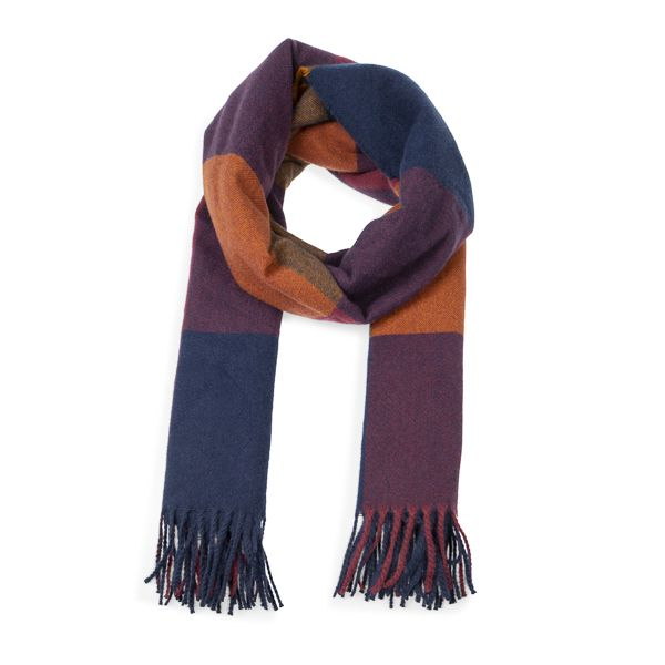Woven Check Scarf, Red/Tan/Navy