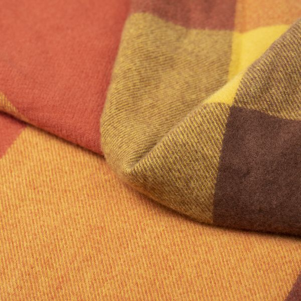 Woven Check Scarf, Yellow/Brown