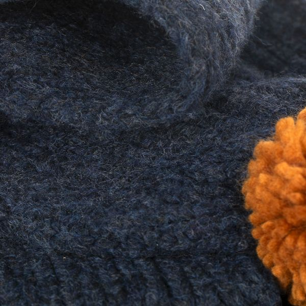 Cable Knit Scarf with Poms, Navy/Tan