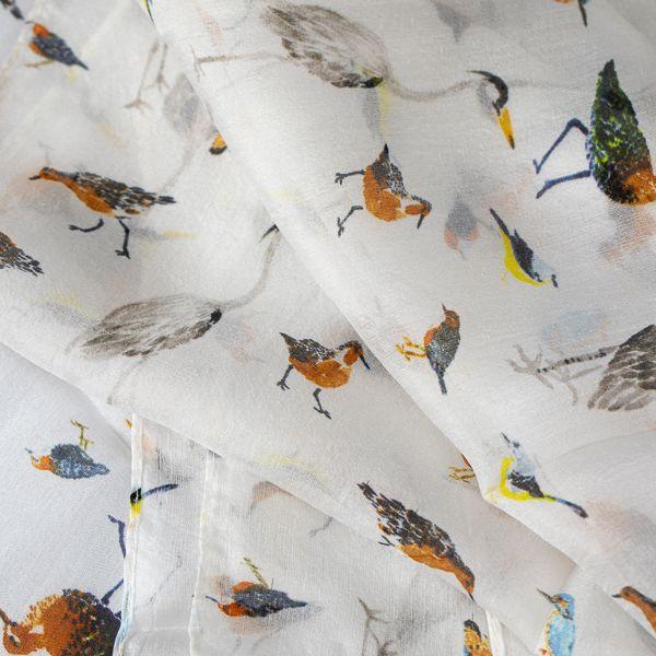 Sheffield Park River Birds Silk Scarf, White