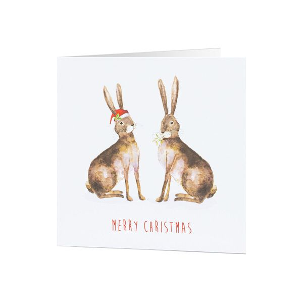 National Trust Duo of Hares Christmas Cards, Pack of 10