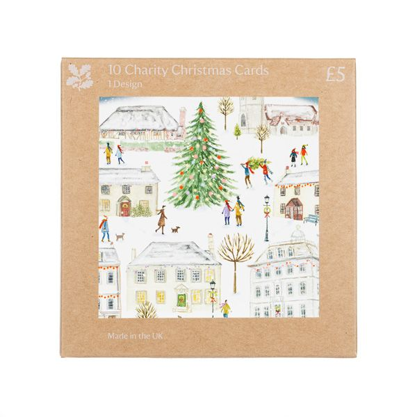 National Trust Village Scene in Snow Christmas Cards, Pack of 10