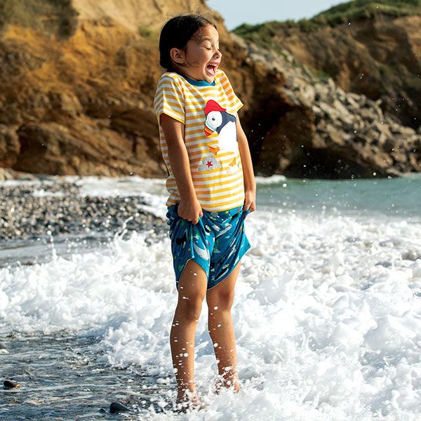 Frugi and National Trust Sid Applique T-Shirt, Paddling Puffins