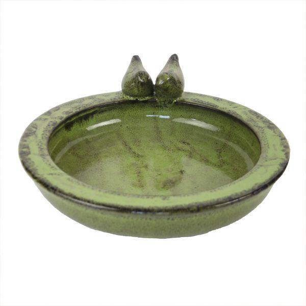 Round Terracotta Bird Bath, Green
