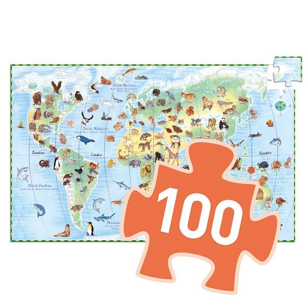 World Animals Observation Jigsaw Puzzle and Booklet, 100 Pieces