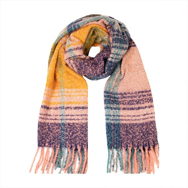 Boucle Multi Check Scarf, Navy/Rose