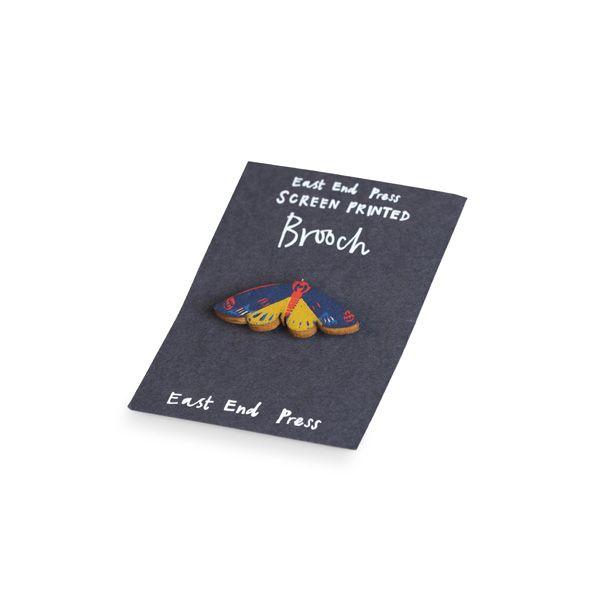 Screen Printed Brooch, Blue Moth