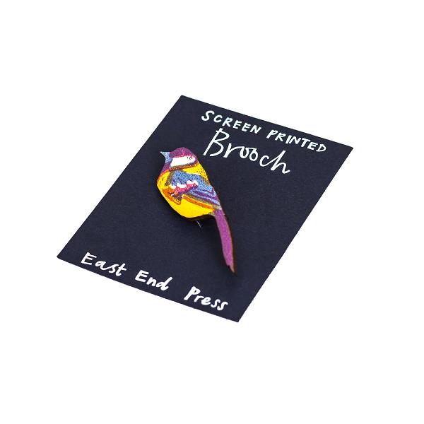 Screen Printed Brooch, Blue Tit