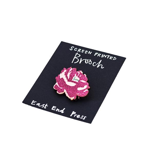 Screen Printed Brooch, Peony