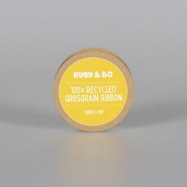 100% Recycled Grosgrain Ribbon, White
