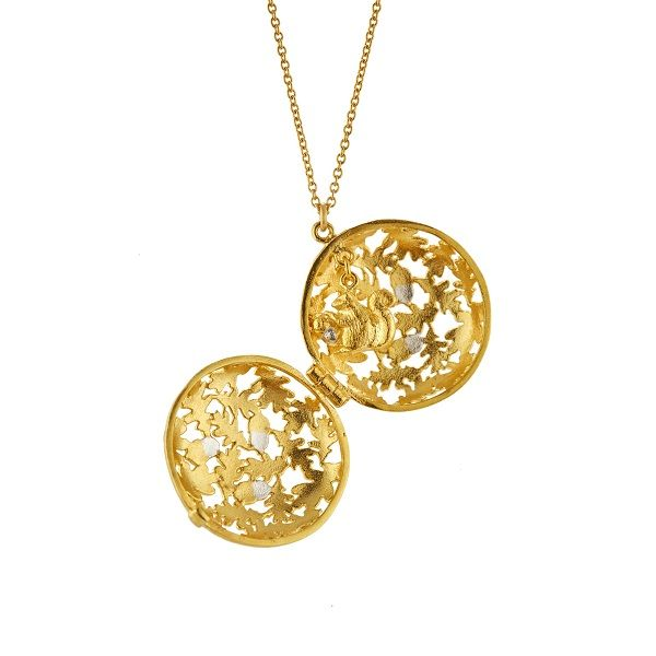 Alex Monroe Locket Necklace, Gold Plate