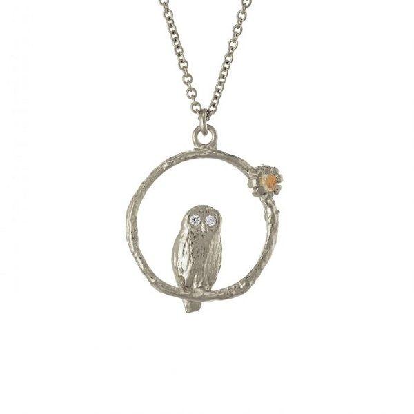 Alex Monroe Owl Necklace, Silver