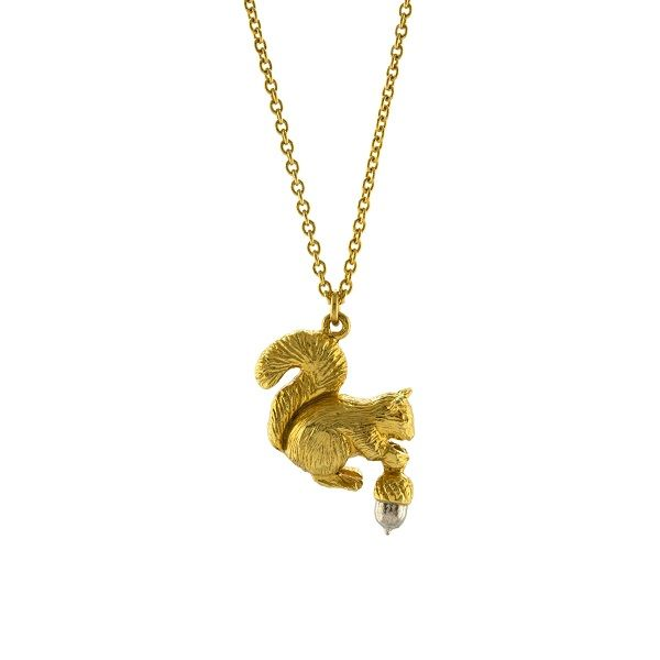 Alex Monroe Squirrel Necklace, Gold Plate