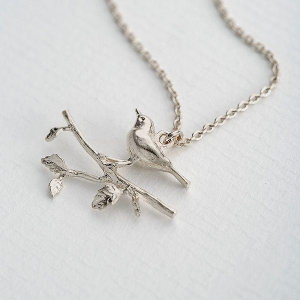 Alex Monroe Warbler Leafy Branch Necklace, Silver