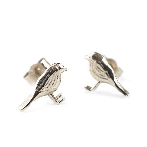 Alex Monroe Little Bird Stud Earrings, Silver