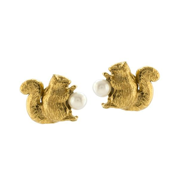 Alex Monroe Squirrel and Pearl Stud Earrings, Gold Plate