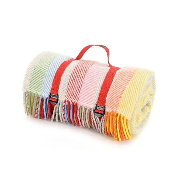 Waterproof Backed Rainbow Stripe Picnic Rug