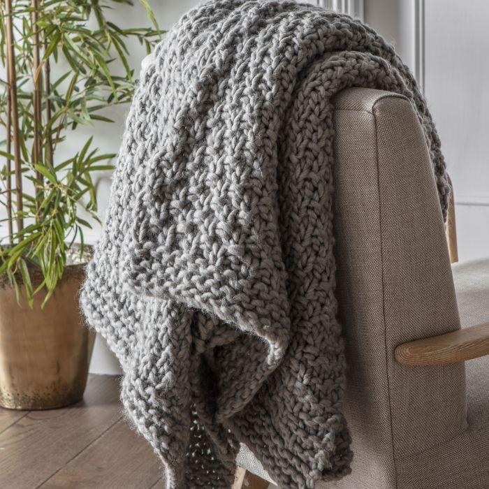 Moss Stitch Chunky Knit Throw Grey