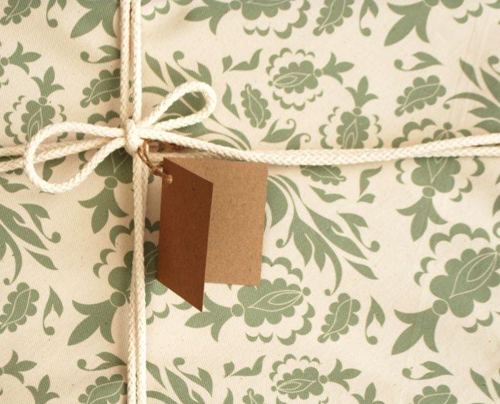 Reusable Fabric Gift Wrap, Damask Print